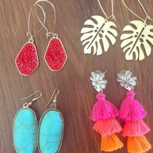 Fashion earring bundle. Drop, turquoise, tassel